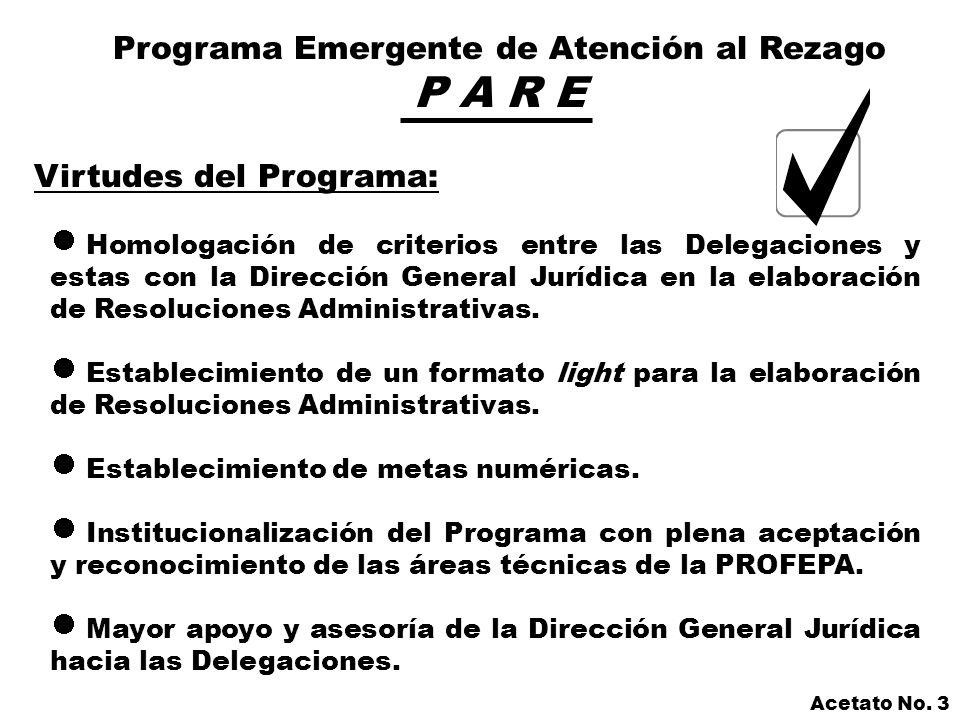 Programa Emergente de Atención al Rezago P A R E Desventajas del Programa: Institucionalización al final de la Administración.