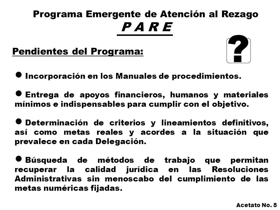 Programa Emergente de Atención al Rezago P A R E Pendientes del Programa: Incorporación en los Manuales de procedimientos.
