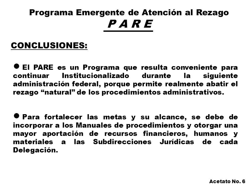 Programa Emergente de Atención al Rezago P A R E Acetato No.