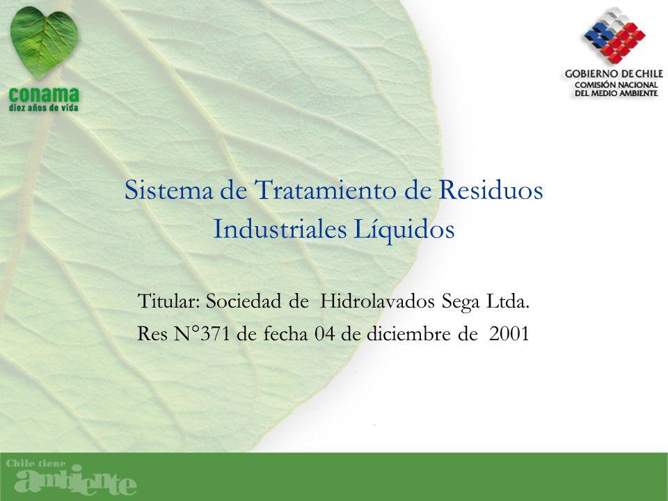 Sistema de Tratamiento de Residuos Industriales Líquidos Titular: Sociedad de Hidrolavados Sega Ltda. Res N°371 de fecha 04 de diciembre de 2001
