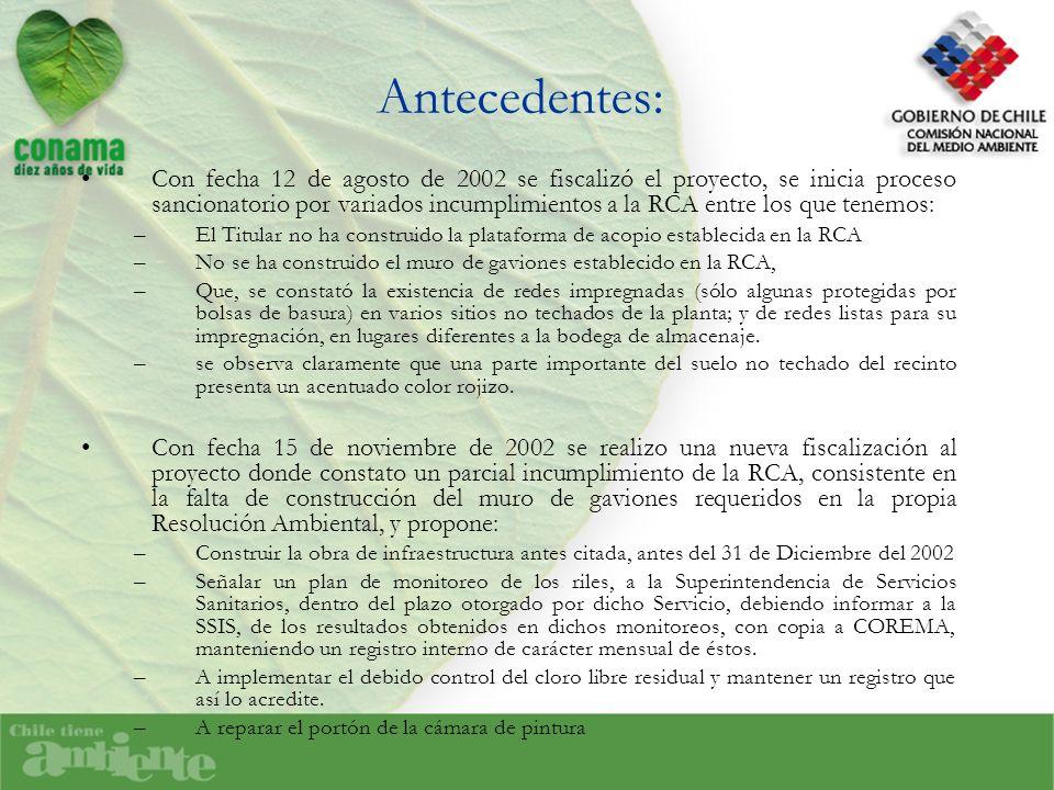 Antecedentes: Con fecha 12 de agosto de 2002 se fiscalizó el proyecto, se inicia proceso sancionatorio por variados incumplimientos a la RCA entre los