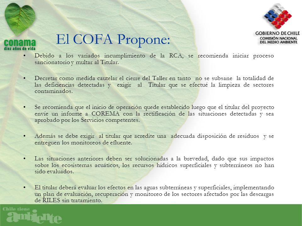 El COFA Propone: Debido a los variados incumplimiento de la RCA, se recomienda iniciar proceso sancionatorio y multar al Titular. Decretar como medida