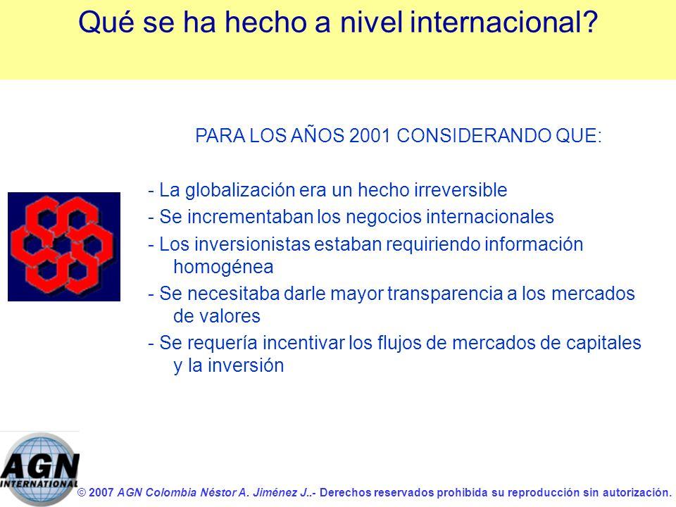 © 2007 AGN Colombia Néstor A. Jiménez J..- Derechos reservados prohibida su reproducción sin autorización. PARA LOS AÑOS 2001 CONSIDERANDO QUE: - La g