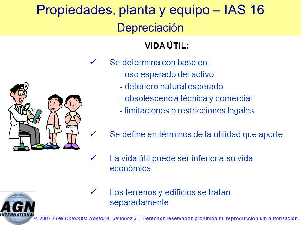 © 2007 AGN Colombia Néstor A. Jiménez J..- Derechos reservados prohibida su reproducción sin autorización. Se determina con base en: - uso esperado de