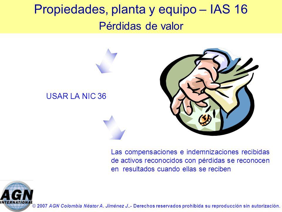 © 2007 AGN Colombia Néstor A. Jiménez J..- Derechos reservados prohibida su reproducción sin autorización. USAR LA NIC 36 Las compensaciones e indemni