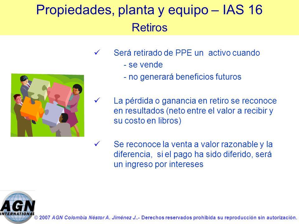 © 2007 AGN Colombia Néstor A. Jiménez J..- Derechos reservados prohibida su reproducción sin autorización. Será retirado de PPE un activo cuando - se