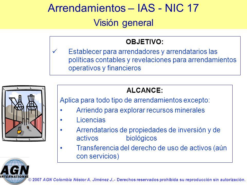 © 2007 AGN Colombia Néstor A. Jiménez J..- Derechos reservados prohibida su reproducción sin autorización. OBJETIVO: Establecer para arrendadores y ar