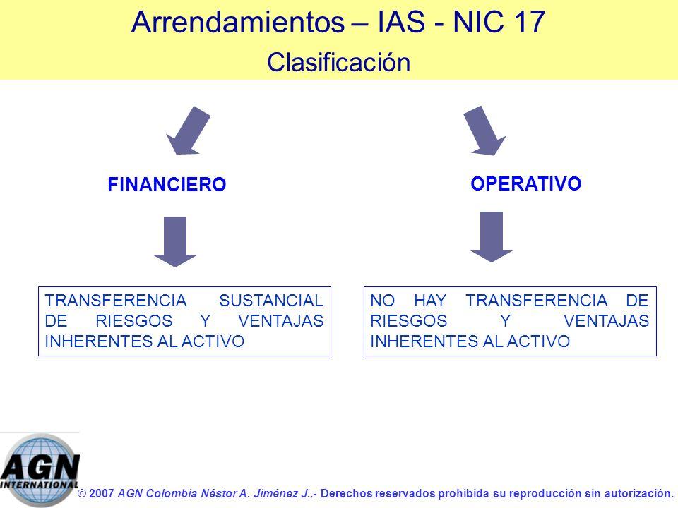 © 2007 AGN Colombia Néstor A. Jiménez J..- Derechos reservados prohibida su reproducción sin autorización. FINANCIERO OPERATIVO TRANSFERENCIA SUSTANCI