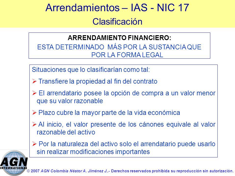 © 2007 AGN Colombia Néstor A. Jiménez J..- Derechos reservados prohibida su reproducción sin autorización. Situaciones que lo clasificarían como tal: