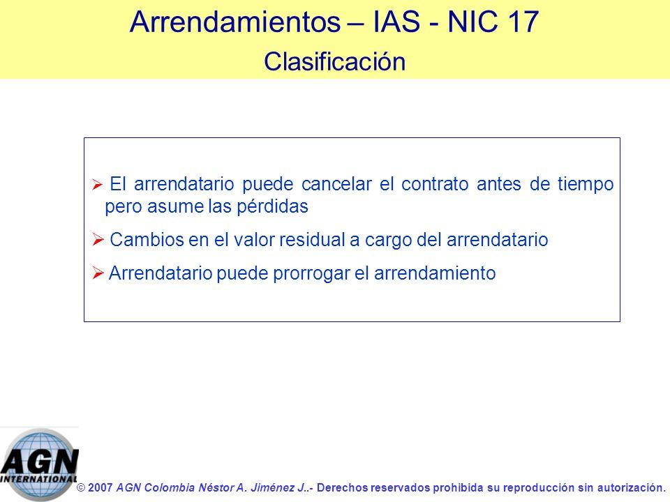 © 2007 AGN Colombia Néstor A. Jiménez J..- Derechos reservados prohibida su reproducción sin autorización. El arrendatario puede cancelar el contrato