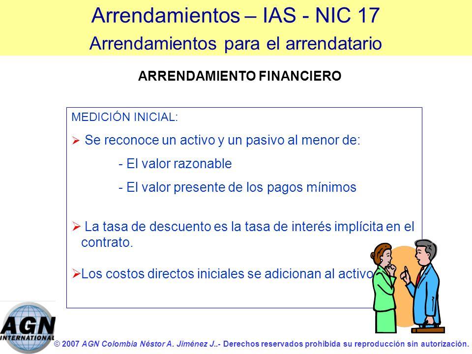 © 2007 AGN Colombia Néstor A. Jiménez J..- Derechos reservados prohibida su reproducción sin autorización. MEDICIÓN INICIAL: Se reconoce un activo y u