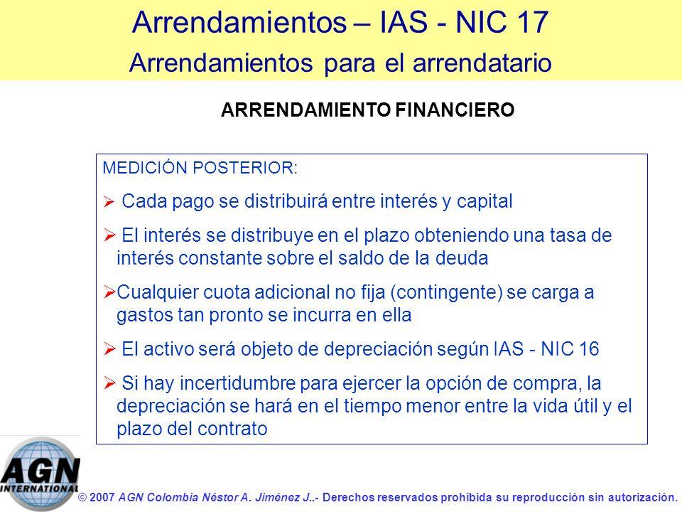 © 2007 AGN Colombia Néstor A. Jiménez J..- Derechos reservados prohibida su reproducción sin autorización. MEDICIÓN POSTERIOR: Cada pago se distribuir