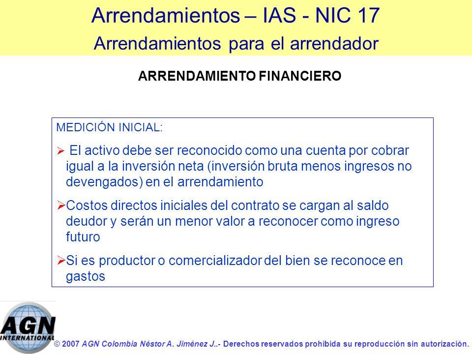 © 2007 AGN Colombia Néstor A. Jiménez J..- Derechos reservados prohibida su reproducción sin autorización. ARRENDAMIENTO FINANCIERO MEDICIÓN INICIAL: