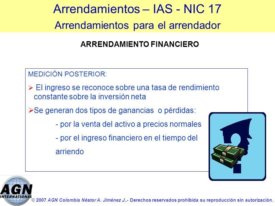 © 2007 AGN Colombia Néstor A. Jiménez J..- Derechos reservados prohibida su reproducción sin autorización. ARRENDAMIENTO FINANCIERO MEDICIÓN POSTERIOR