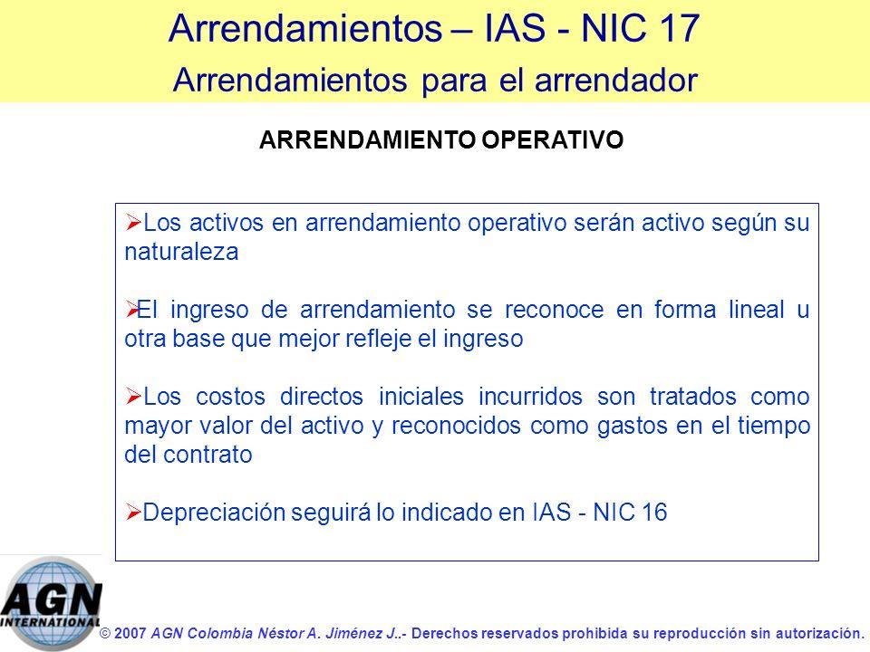 © 2007 AGN Colombia Néstor A. Jiménez J..- Derechos reservados prohibida su reproducción sin autorización. ARRENDAMIENTO OPERATIVO Los activos en arre