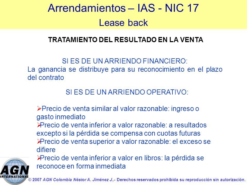 © 2007 AGN Colombia Néstor A. Jiménez J..- Derechos reservados prohibida su reproducción sin autorización. TRATAMIENTO DEL RESULTADO EN LA VENTA SI ES