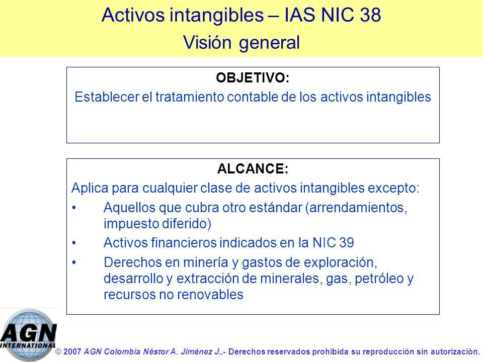 © 2007 AGN Colombia Néstor A. Jiménez J..- Derechos reservados prohibida su reproducción sin autorización. OBJETIVO: Establecer el tratamiento contabl