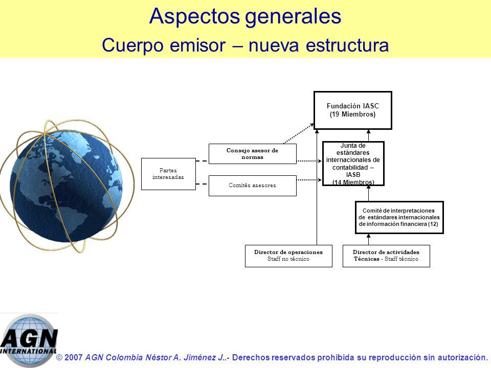 © 2007 AGN Colombia Néstor A. Jiménez J..- Derechos reservados prohibida su reproducción sin autorización. Junta de estándares internacionales de cont