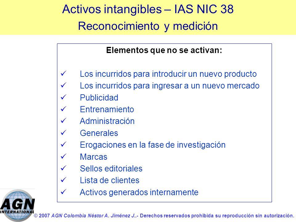 © 2007 AGN Colombia Néstor A. Jiménez J..- Derechos reservados prohibida su reproducción sin autorización. Elementos que no se activan: Los incurridos