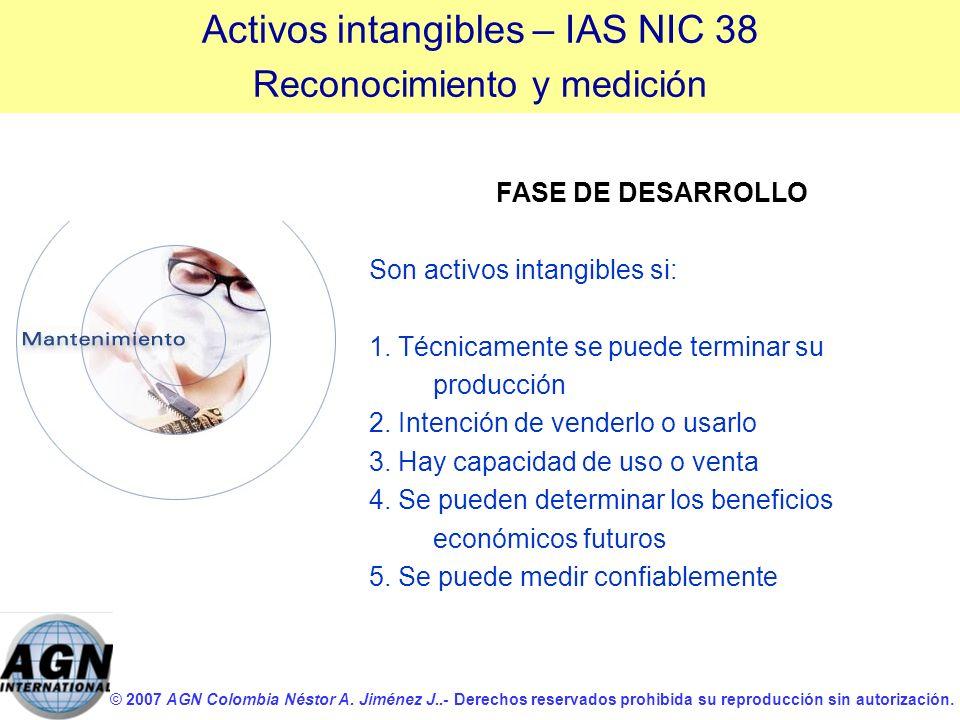 © 2007 AGN Colombia Néstor A. Jiménez J..- Derechos reservados prohibida su reproducción sin autorización. FASE DE DESARROLLO Son activos intangibles