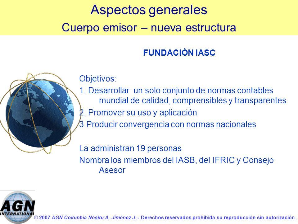 © 2007 AGN Colombia Néstor A. Jiménez J..- Derechos reservados prohibida su reproducción sin autorización. FUNDACIÓN IASC Objetivos: 1. Desarrollar un