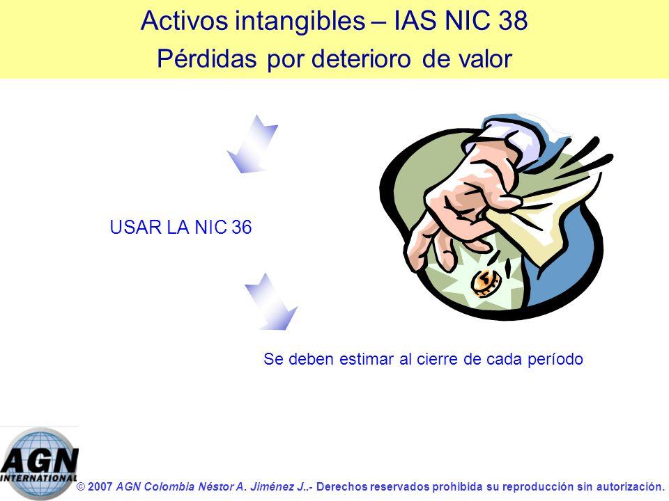 © 2007 AGN Colombia Néstor A. Jiménez J..- Derechos reservados prohibida su reproducción sin autorización. USAR LA NIC 36 Se deben estimar al cierre d