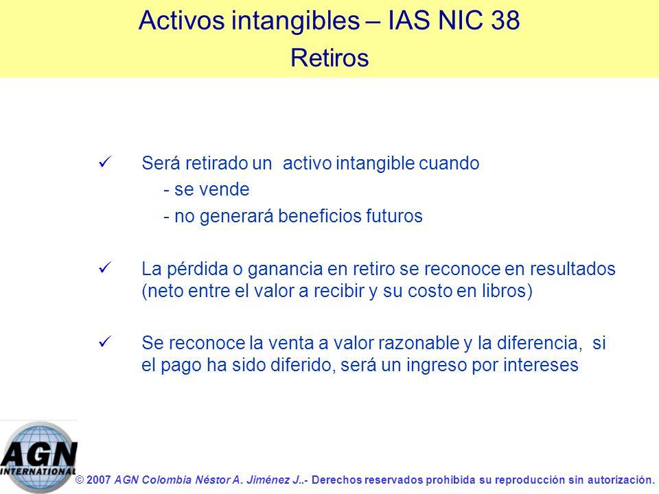 © 2007 AGN Colombia Néstor A. Jiménez J..- Derechos reservados prohibida su reproducción sin autorización. Será retirado un activo intangible cuando -