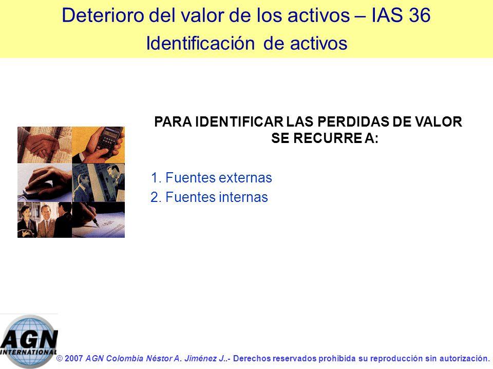 © 2007 AGN Colombia Néstor A. Jiménez J..- Derechos reservados prohibida su reproducción sin autorización. PARA IDENTIFICAR LAS PERDIDAS DE VALOR SE R