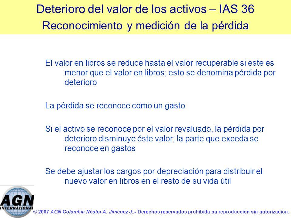 © 2007 AGN Colombia Néstor A. Jiménez J..- Derechos reservados prohibida su reproducción sin autorización. El valor en libros se reduce hasta el valor