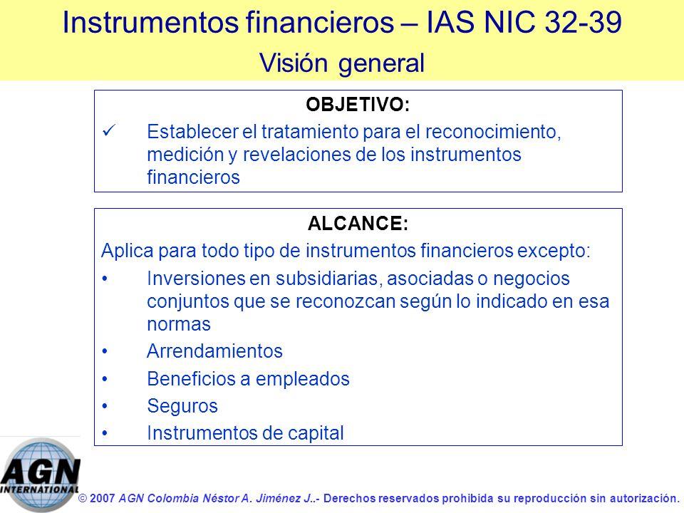 © 2007 AGN Colombia Néstor A. Jiménez J..- Derechos reservados prohibida su reproducción sin autorización. OBJETIVO: Establecer el tratamiento para el