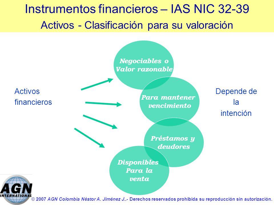 © 2007 AGN Colombia Néstor A. Jiménez J..- Derechos reservados prohibida su reproducción sin autorización. Activos financieros Instrumentos financiero