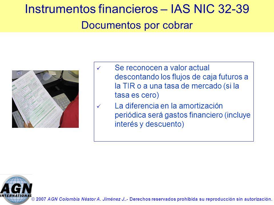© 2007 AGN Colombia Néstor A. Jiménez J..- Derechos reservados prohibida su reproducción sin autorización. Se reconocen a valor actual descontando los