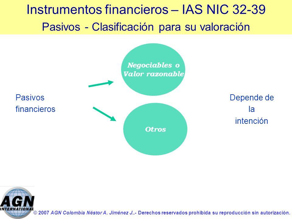 © 2007 AGN Colombia Néstor A. Jiménez J..- Derechos reservados prohibida su reproducción sin autorización. Pasivos financieros Instrumentos financiero