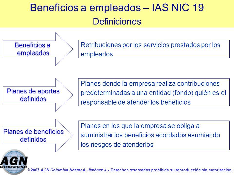 © 2007 AGN Colombia Néstor A. Jiménez J..- Derechos reservados prohibida su reproducción sin autorización. Planes de aportes definidos Retribuciones p