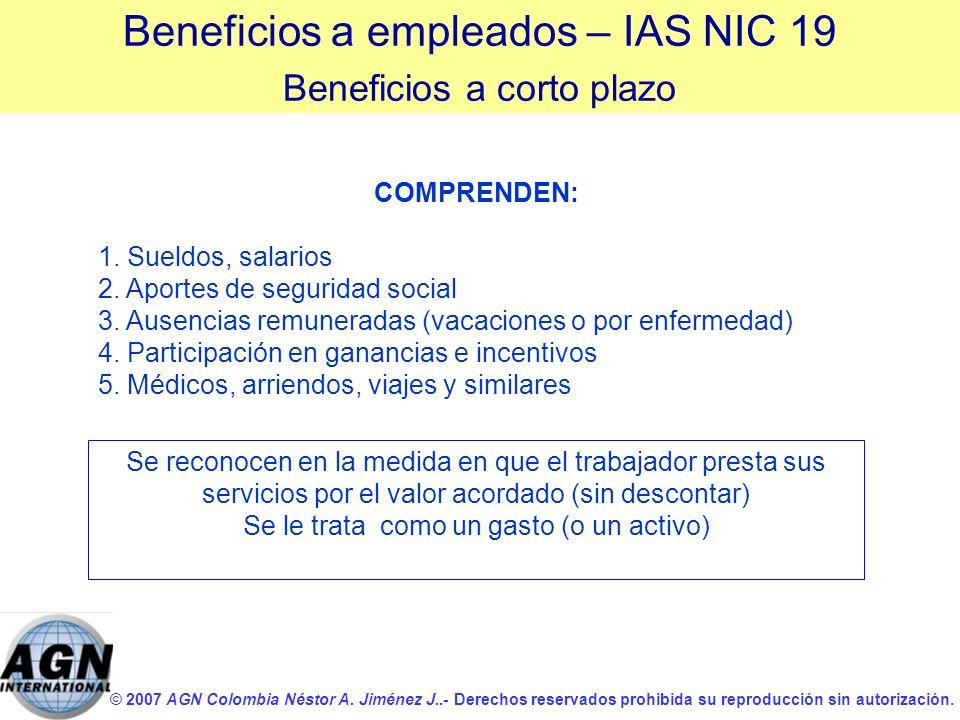 © 2007 AGN Colombia Néstor A. Jiménez J..- Derechos reservados prohibida su reproducción sin autorización. COMPRENDEN: 1. Sueldos, salarios 2. Aportes