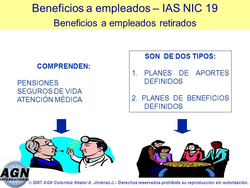 © 2007 AGN Colombia Néstor A. Jiménez J..- Derechos reservados prohibida su reproducción sin autorización. COMPRENDEN: PENSIONES SEGUROS DE VIDA ATENC