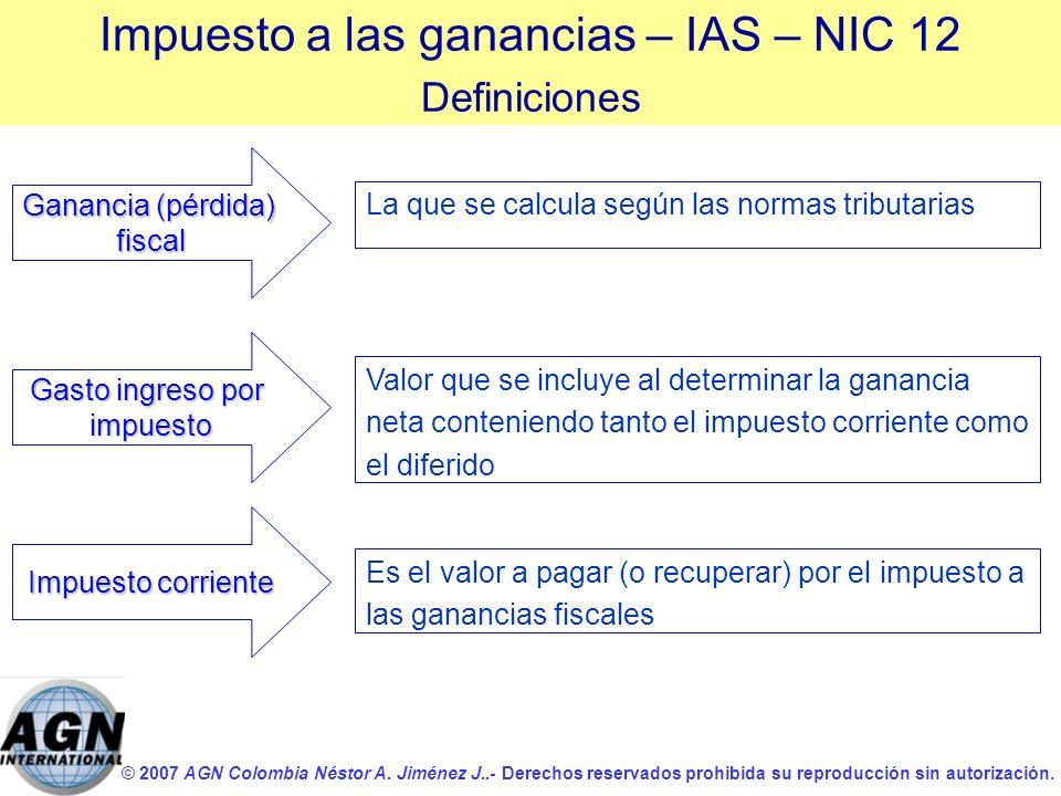 © 2007 AGN Colombia Néstor A. Jiménez J..- Derechos reservados prohibida su reproducción sin autorización. Gasto ingreso por impuesto La que se calcul