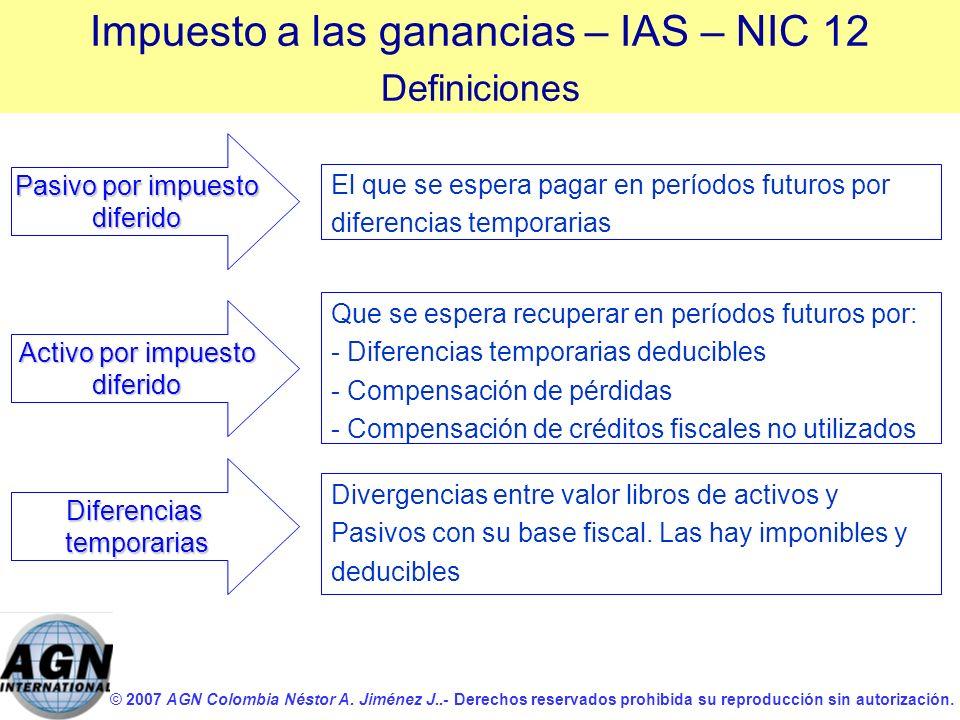 © 2007 AGN Colombia Néstor A. Jiménez J..- Derechos reservados prohibida su reproducción sin autorización. Activo por impuesto diferido El que se espe