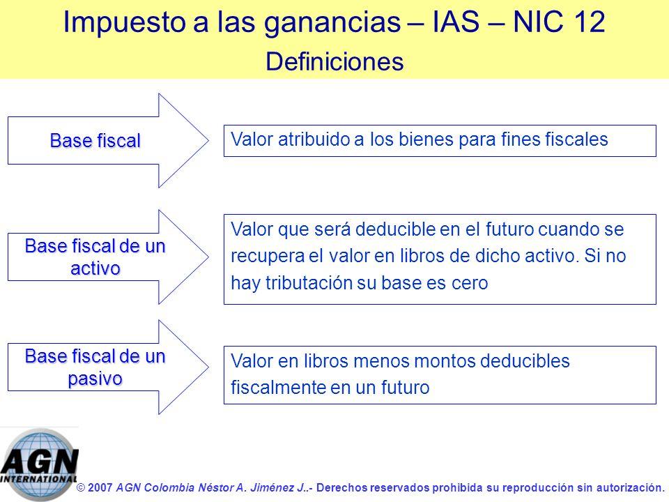 © 2007 AGN Colombia Néstor A. Jiménez J..- Derechos reservados prohibida su reproducción sin autorización. Base fiscal de un activo Valor atribuido a