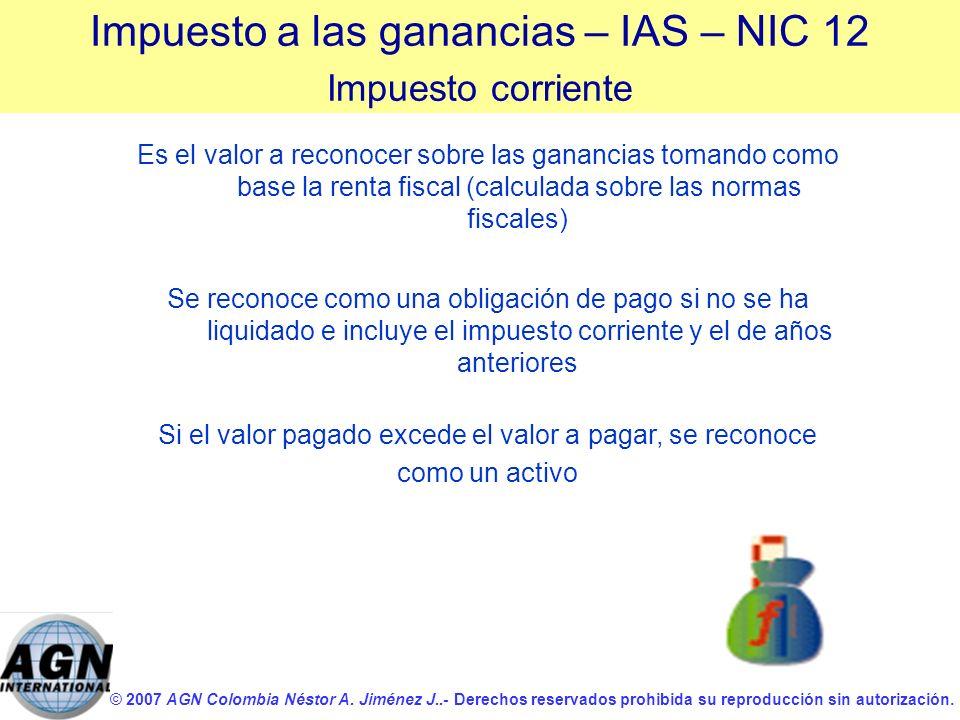 © 2007 AGN Colombia Néstor A. Jiménez J..- Derechos reservados prohibida su reproducción sin autorización. Es el valor a reconocer sobre las ganancias