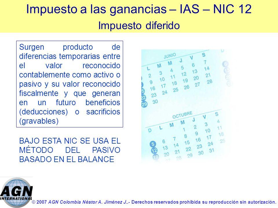 © 2007 AGN Colombia Néstor A. Jiménez J..- Derechos reservados prohibida su reproducción sin autorización. Surgen producto de diferencias temporarias