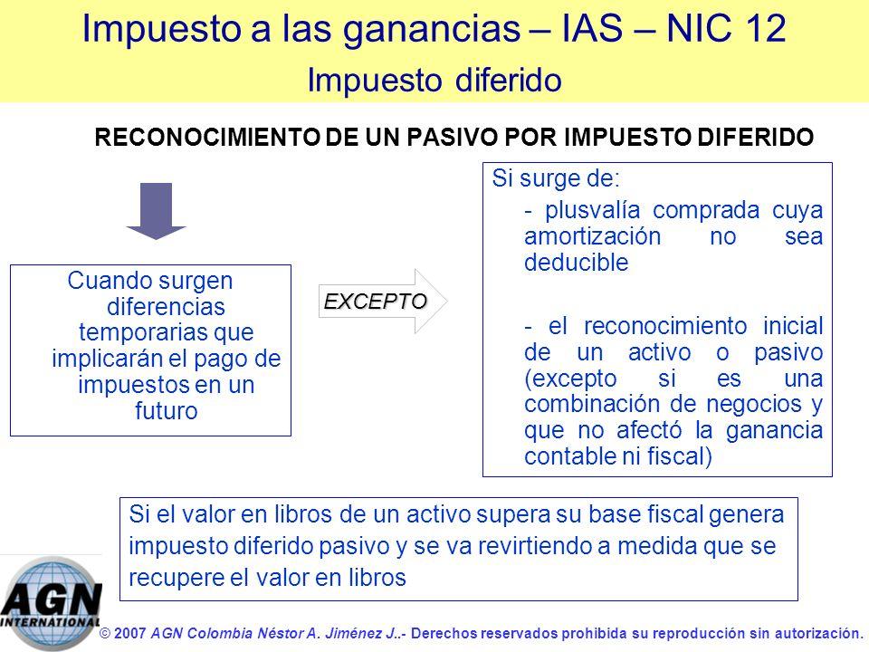 © 2007 AGN Colombia Néstor A. Jiménez J..- Derechos reservados prohibida su reproducción sin autorización. RECONOCIMIENTO DE UN PASIVO POR IMPUESTO DI