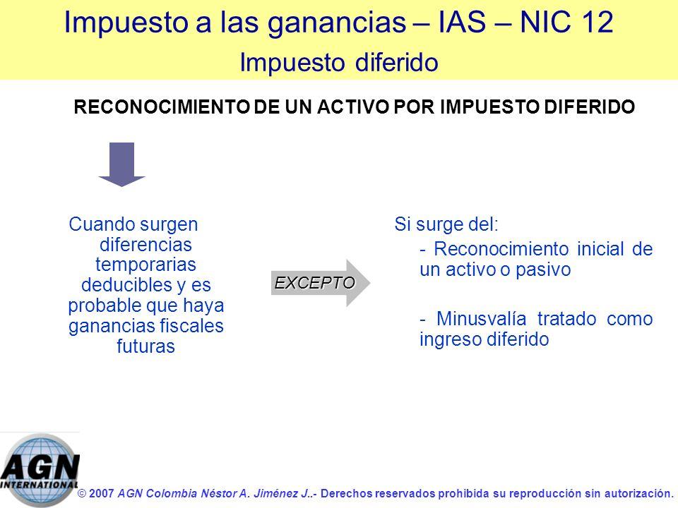 © 2007 AGN Colombia Néstor A. Jiménez J..- Derechos reservados prohibida su reproducción sin autorización. RECONOCIMIENTO DE UN ACTIVO POR IMPUESTO DI