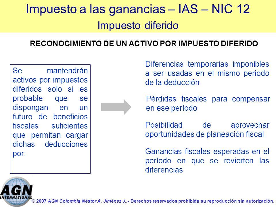 © 2007 AGN Colombia Néstor A. Jiménez J..- Derechos reservados prohibida su reproducción sin autorización. Se mantendrán activos por impuestos diferid