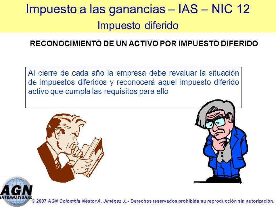 © 2007 AGN Colombia Néstor A. Jiménez J..- Derechos reservados prohibida su reproducción sin autorización. Al cierre de cada año la empresa debe reval
