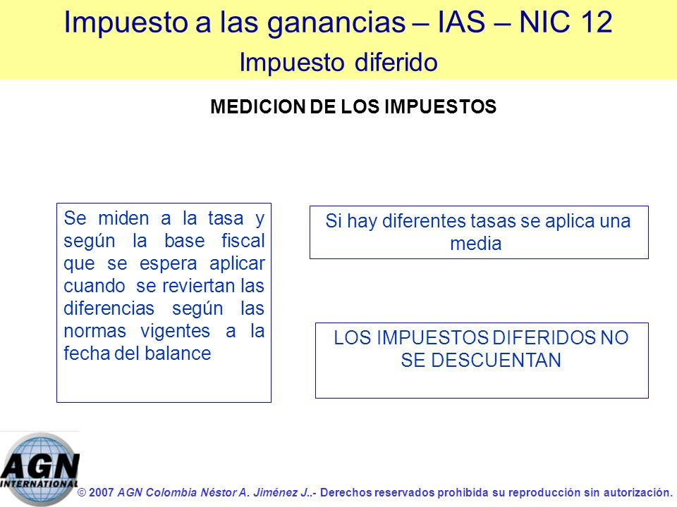 © 2007 AGN Colombia Néstor A. Jiménez J..- Derechos reservados prohibida su reproducción sin autorización. Se miden a la tasa y según la base fiscal q