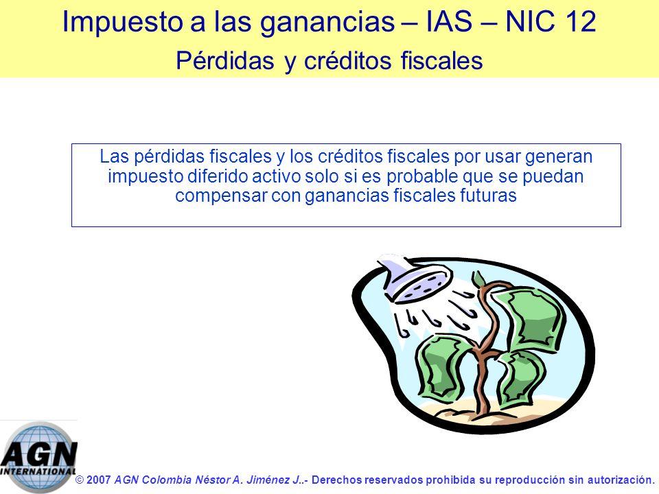 © 2007 AGN Colombia Néstor A. Jiménez J..- Derechos reservados prohibida su reproducción sin autorización. Las pérdidas fiscales y los créditos fiscal