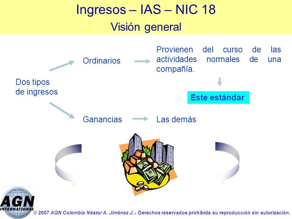 © 2007 AGN Colombia Néstor A. Jiménez J..- Derechos reservados prohibida su reproducción sin autorización. Dos tipos de ingresos Ingresos – IAS – NIC