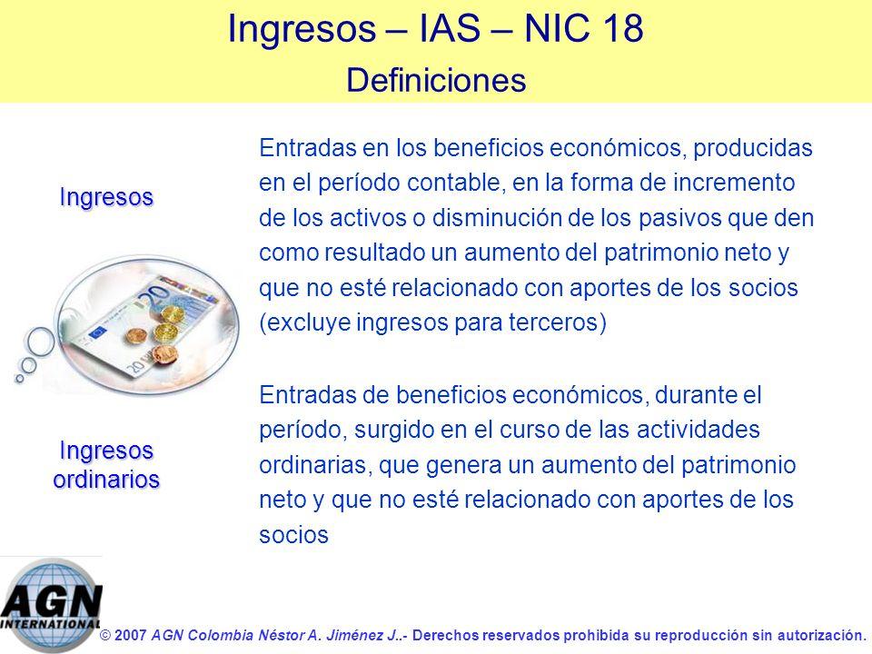 © 2007 AGN Colombia Néstor A. Jiménez J..- Derechos reservados prohibida su reproducción sin autorización. Entradas en los beneficios económicos, prod