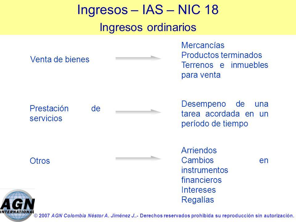 © 2007 AGN Colombia Néstor A. Jiménez J..- Derechos reservados prohibida su reproducción sin autorización. Venta de bienes Ingresos – IAS – NIC 18 Ing